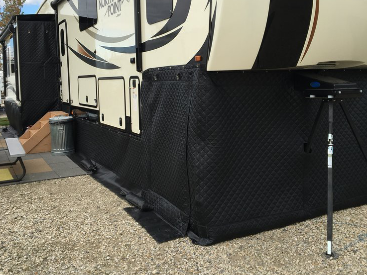 RV Skirting View of Hitch / Front and Passenger Side and Slide.